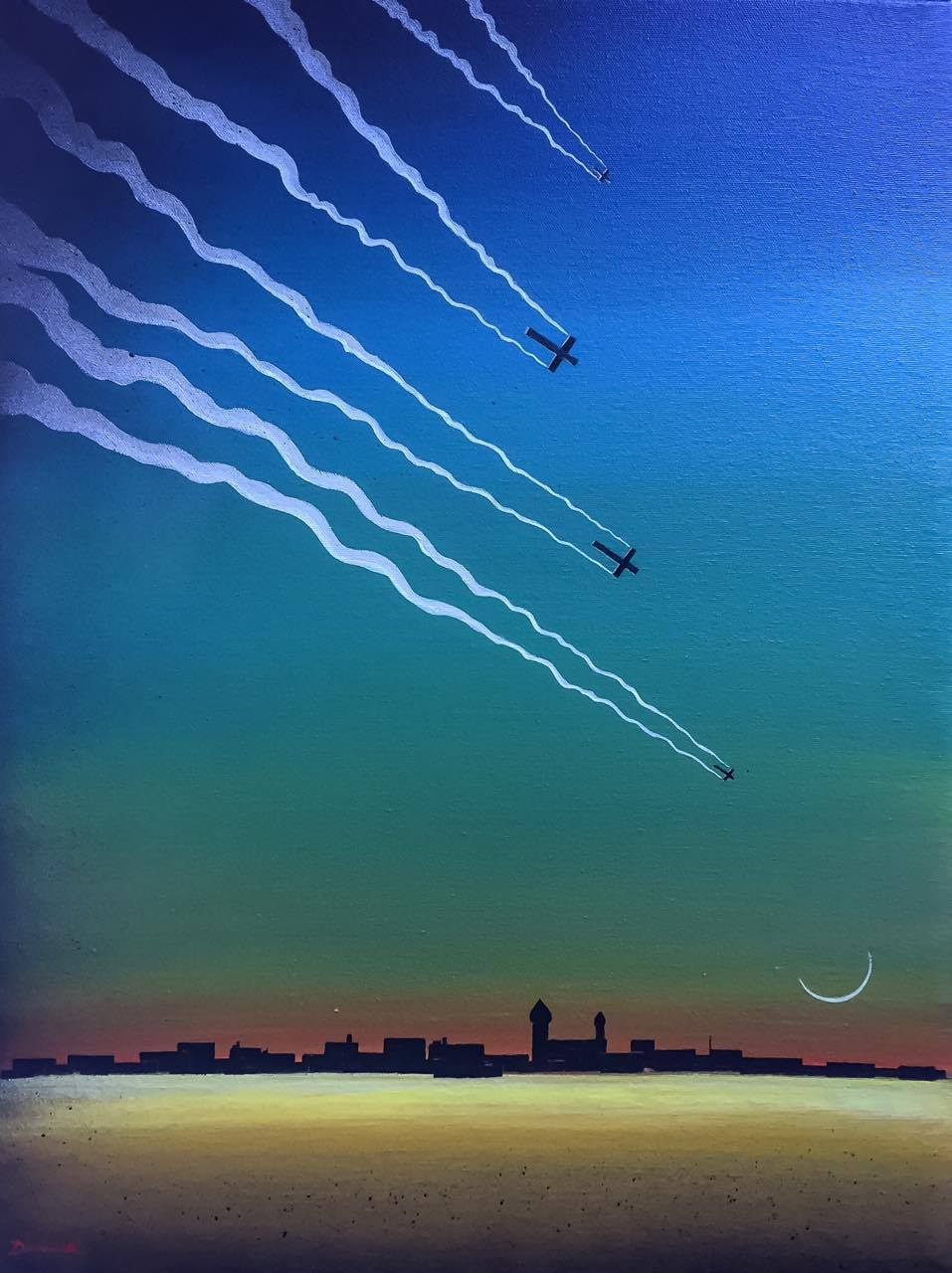 Pete Dunne Artist, Drones over Damascus